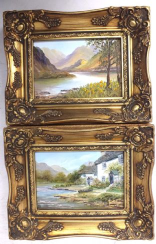 "Ann Cellea ""Ullswater"" Two Original Small Oil Paintings In Frames"